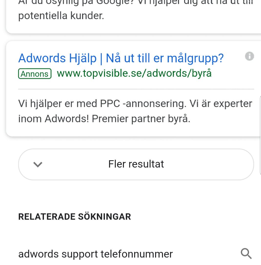 Bild på Googles nya sätt att visa resultat, fler resultat