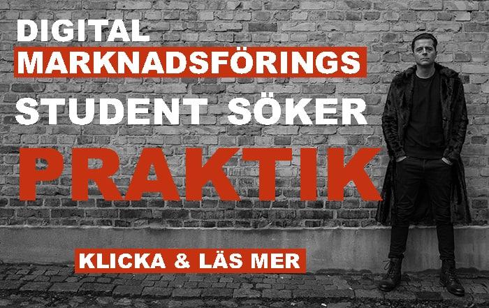 Man i päls står mot en tegelvägg. Texten på bilden säger: Digital marknadsförings student söker praktik. Klicka och läs mer.