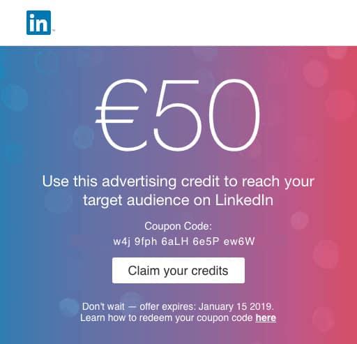 Bild på en kupongkod från Linkedin på 50 dollar till min praktik kampanj