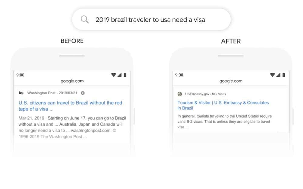 Ett sökresultat med Google BERT