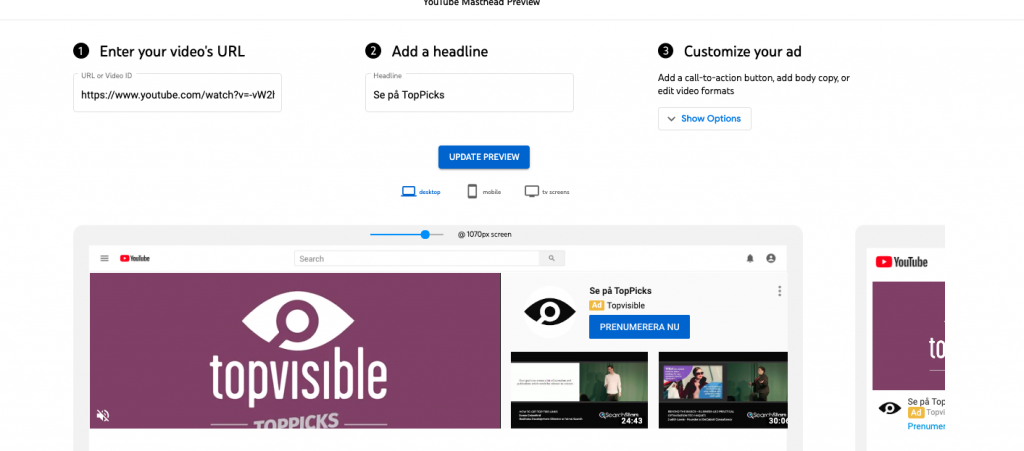 Topvisible YouTube masthed