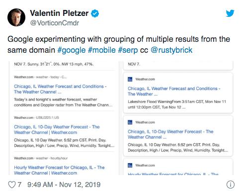 google grupperar liknande resultat