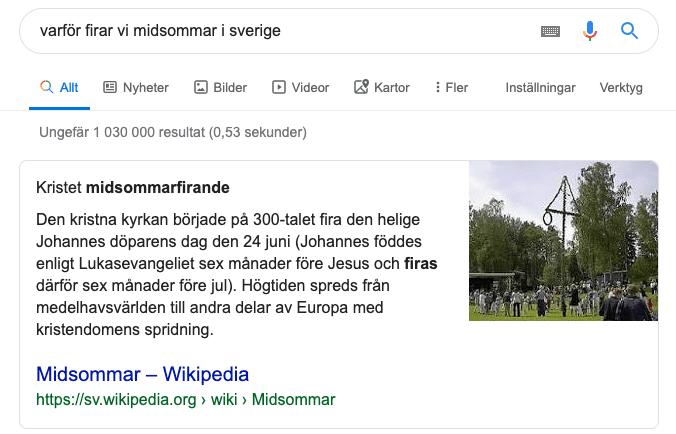 Året med sök 2019 - varför firar vi midsommar i Sverige!