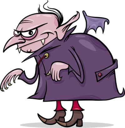 en tecknad vampyr