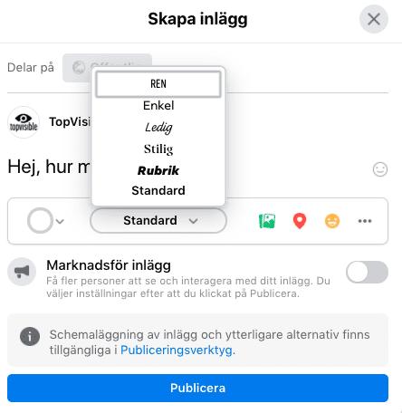Byt font direkt i dina FB-inlägg
