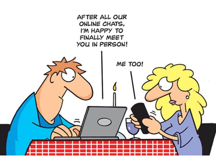 kille och tjej sitter på dejt och kommunicerar genom sin dator och mobil