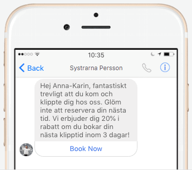 Bokning via Facebooksida.