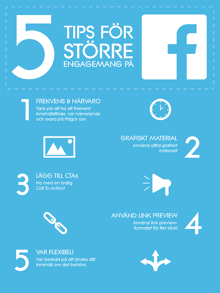 Infographic - 5 tips för större engagemang på facebook