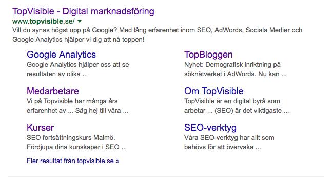 TopVisibles sökresultat på Google