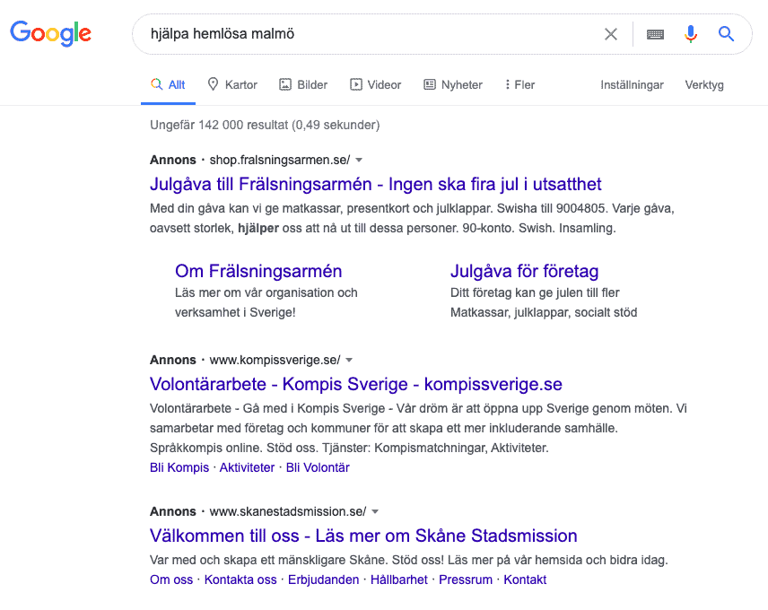 Google Ad Grants sökresultat