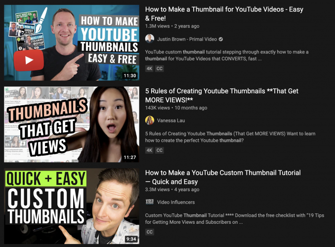 Thumbnail YouTube Search