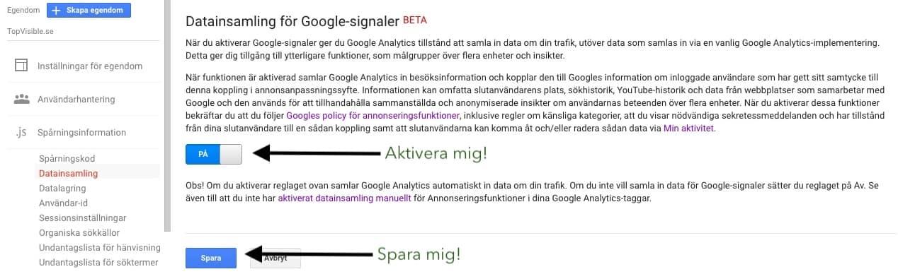 Aktivera google signals