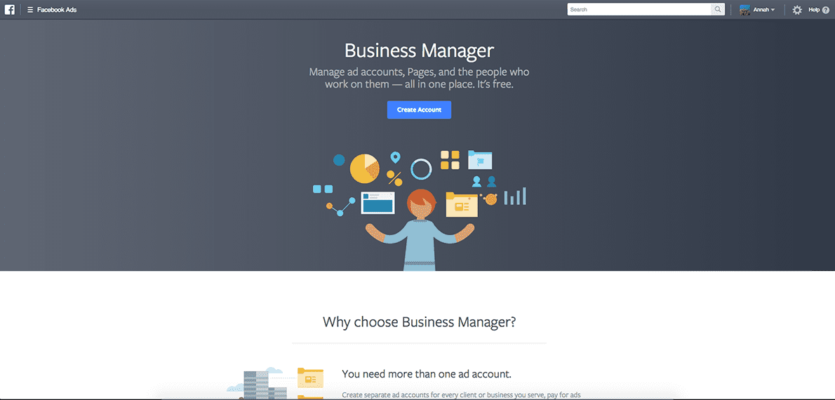 Startsida Facebook Business Manager