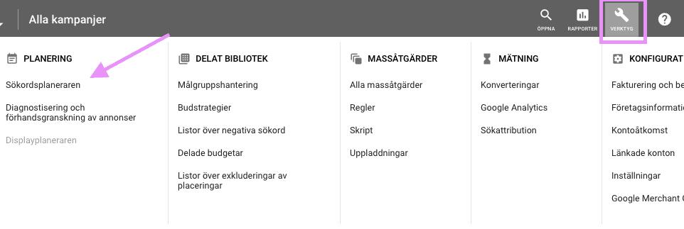 Sökordsplaneraren Google Ads.