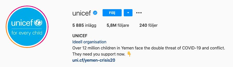 Öka antal följare på Instagram exempel profil