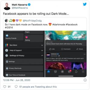 Facebook lanserar dark mode på mobilenhet