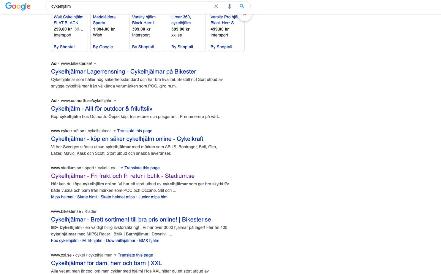 Google's sökresultat för sökordet cykelhjälm