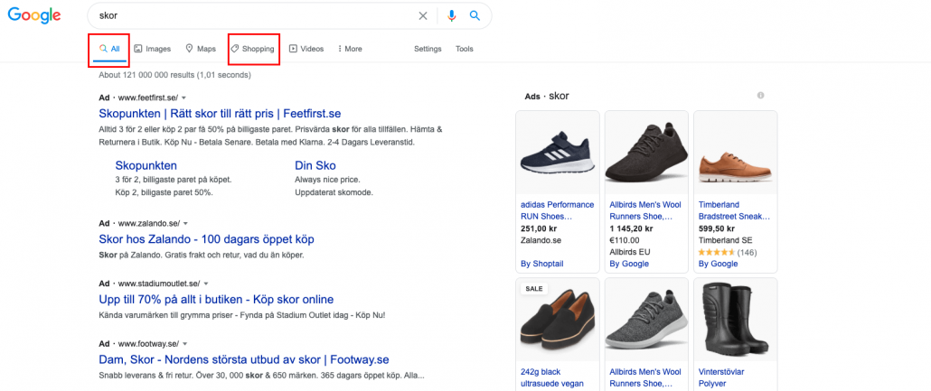 Gratis Google Shopping klick får ni under fliken Shopping