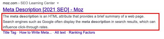 Metabeskrivning hos Moz