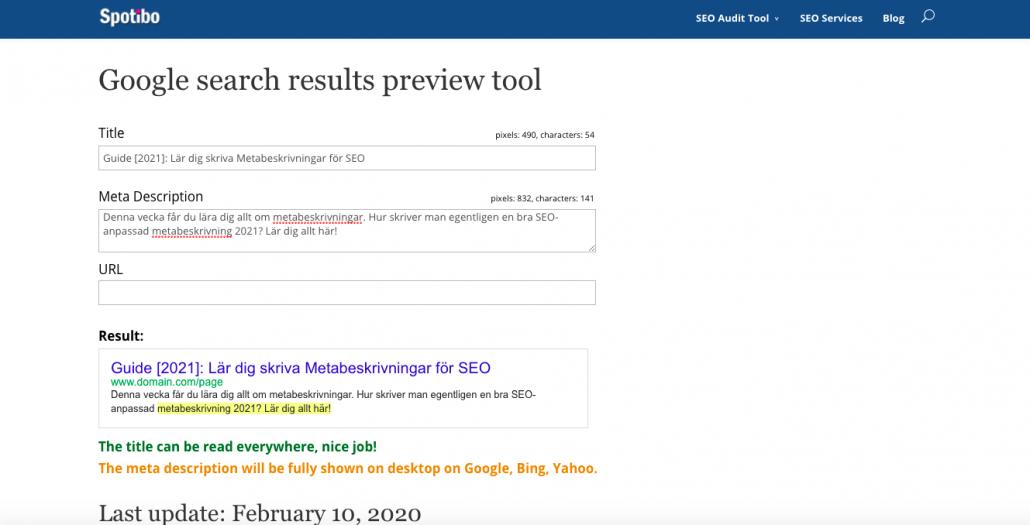 Använd SERP Preview Tool för metabeskrivningar