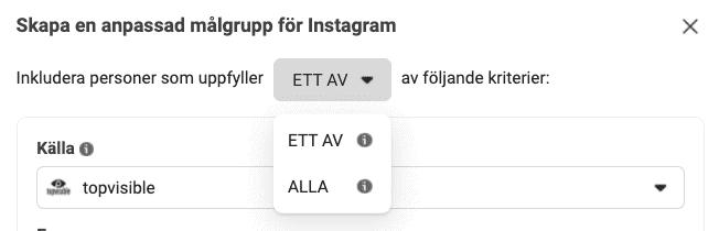 Kriterier för målgrupp på Instagramkonto