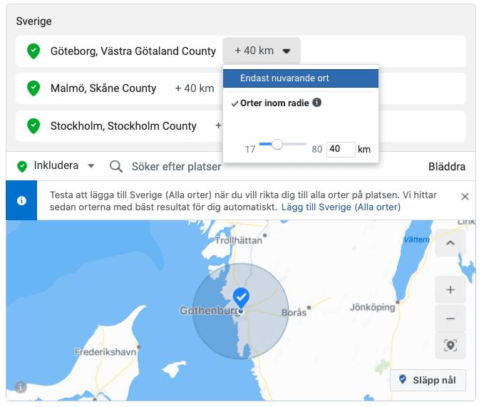 Välj geografisk plats - Facebook och Instagram målgrupper