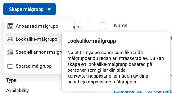 Skapa lookalike målgrupp Facebook och Instagram