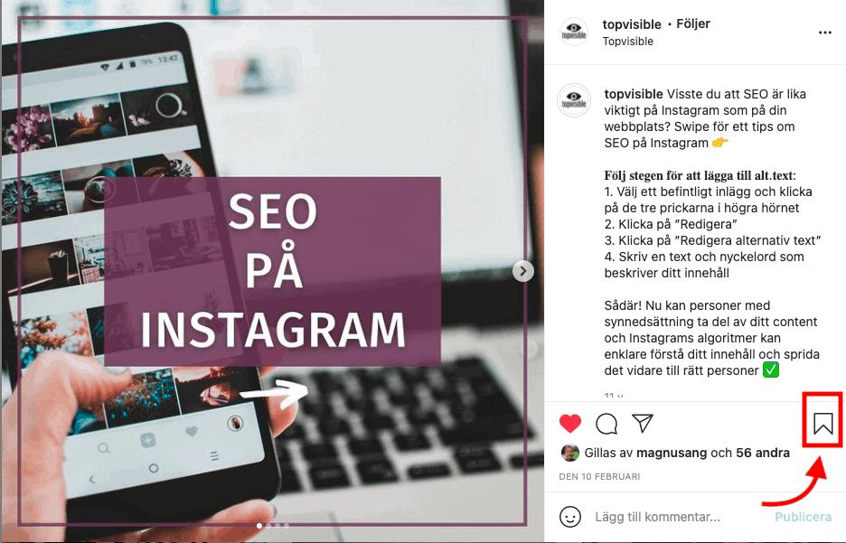 Engagemang Instagram Spara ikon exempel