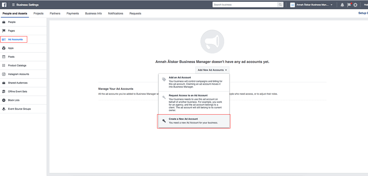 Add ad account to Facebook Business Manager