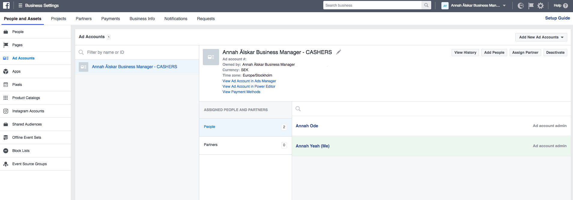 added at ad account facebook business manager