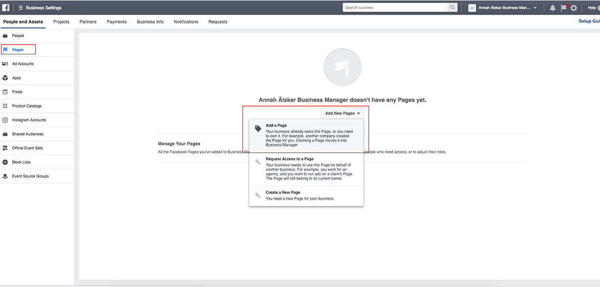 add page to facebook Business Manager