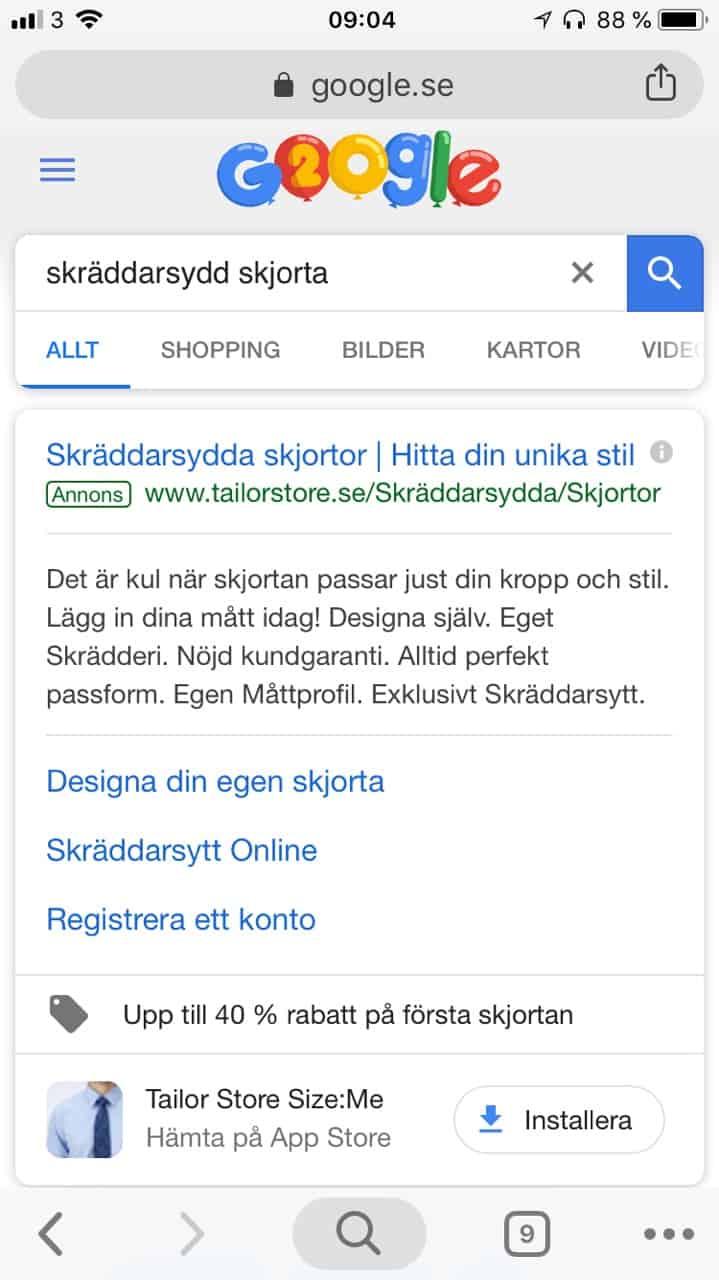 Apptillägg i Google Ads
