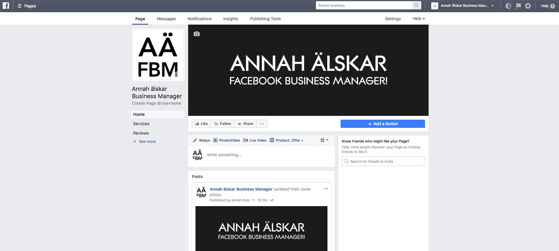 Overview Facebook page look business manager