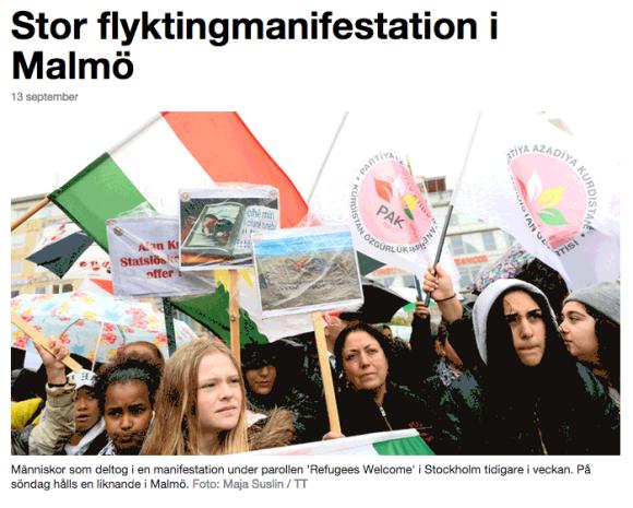 I Malmö deltog över 13 000 personer i manifestationen Refugees Welcome för 1 vecka sedan!