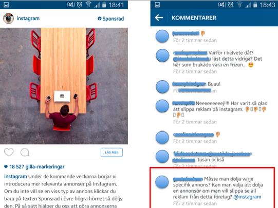 Reaktionerna på 'Instagrams annons' var inte direkt positiva...