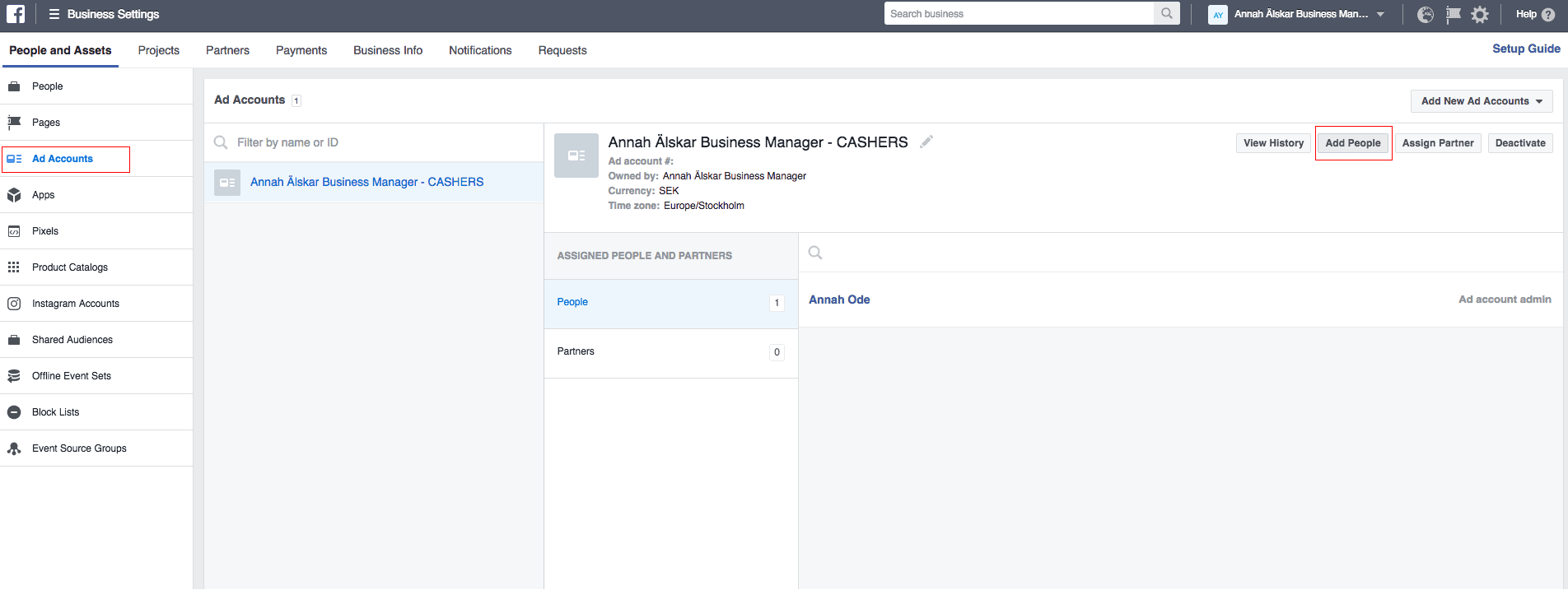 Add people on ad account facebook businss manager