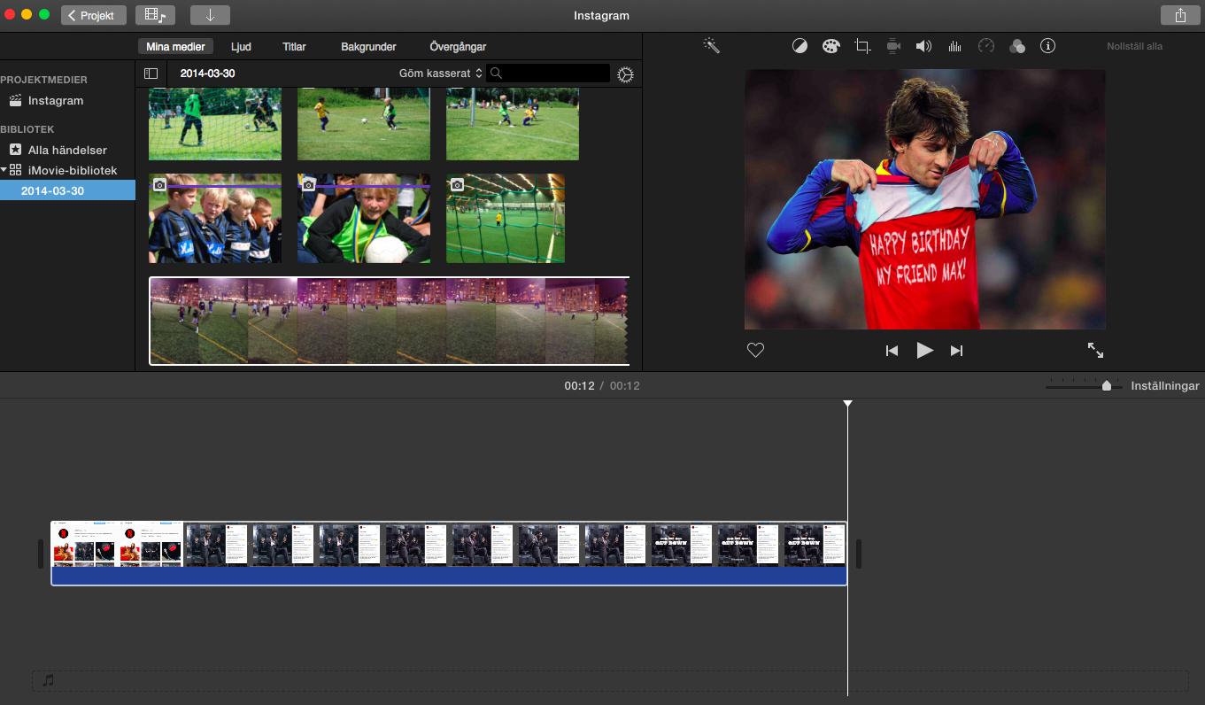 Redigera rörligt media med iMovie