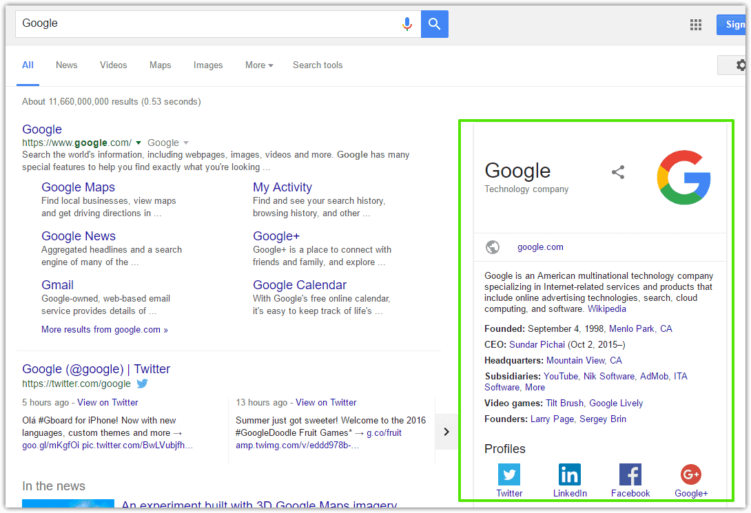Structured data of Google