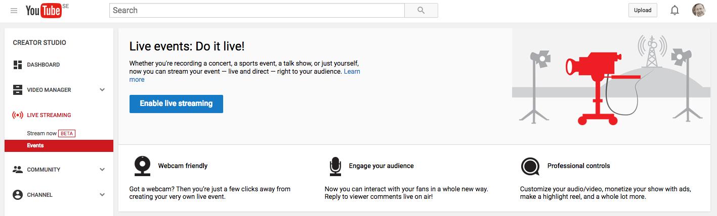Rörligt media med YouTube live